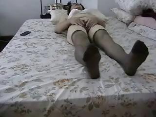 non-professional granny masturbates her hairy