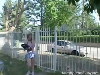 red-haired honey catches granny doing her snatch