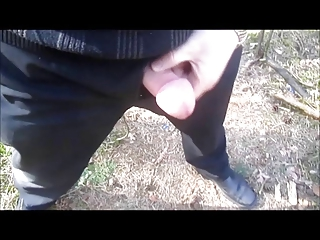 aged daddy jacking off outdoor