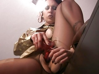 hose clad d like to fuck slut masturbates