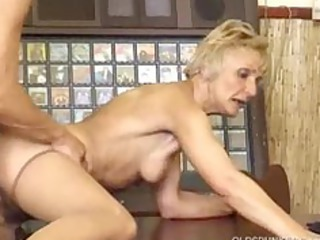 granny drilled by younger boy