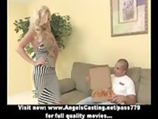 hawt blonde milf does oral sex for pizza chap and