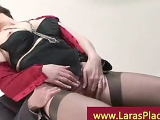 older lady in stocking and heels receives screwed