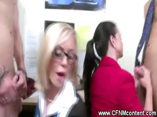 cfnm office sluts engulf for torment