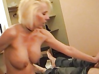 naughty blonde momma in belt and nylons rides