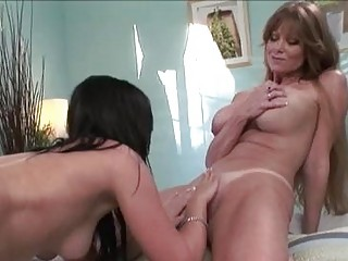 enormous chested lesbo momma licking babe pot to