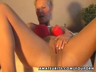 hawt amateur milf masturbates, sucks and