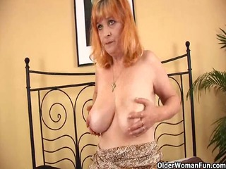 redheaded granny with large milk sacks sucks