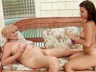 granny and young girl having lesbian fun