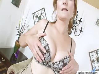 seductive cougar striptease masturbation