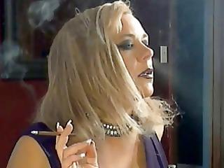 hawt busty aged cougar smokin solo