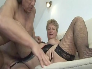 blond shorthair big charming woman-granny drilled