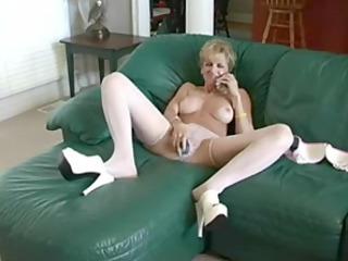 horny mother copulates dildo and dude