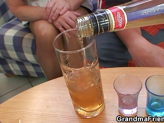partying guys nail golden-haired grandma