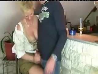granny woman gets drilled by trio stranger older