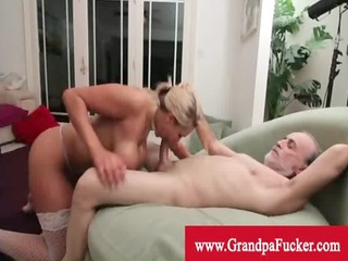 grandpa licking the cum-hole of a golden-haired