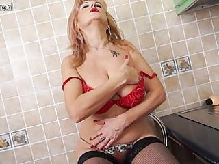 super hot grandma shows hot body and masturbates