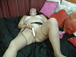 granny puts on nylons then fingers and toys