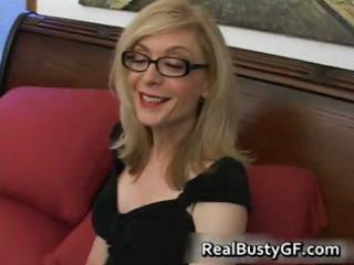 golden-haired mamma in glasses licking subrigid