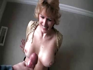 mature wife getting a large facial