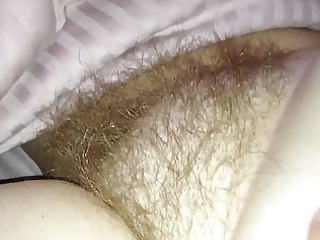 wifes hairy bush under the sheets.