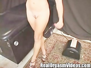 cute college girl cums riding the sybian