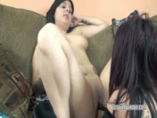 lesbo lavender shares her toys with a latin chick