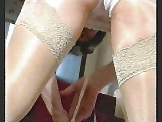 smokin hairy granny in stockings over shiny hose
