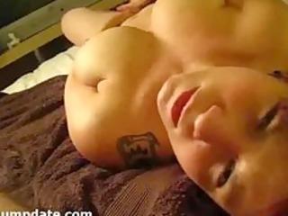 breasty wife masturbates and receives facialized