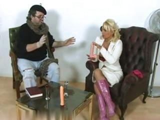 lewd mature blond bitch undresses and plays with