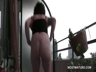 shaggy big o lust mature masturbates on terrace