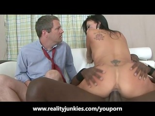 spouse watches his wife fuck a dark boy