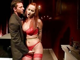 busty redheaded d like to fuck receives bondaged