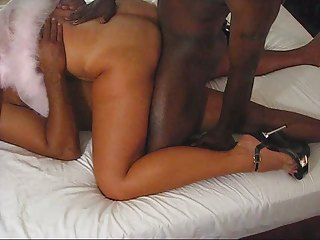 sexy tan wife getting double penetration by dark