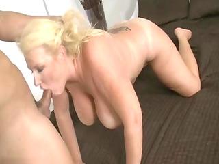 older golden-haired whore sucking pounder