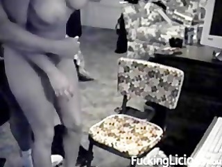 busty playgirl drilled on chair