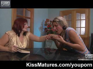 youthful lesbian beauty seduces older woman