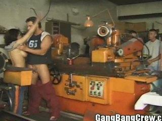 dark brown mother i gang group sex in the workshop