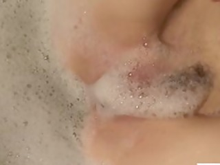redhead mama pleasures her soapy love tunnel