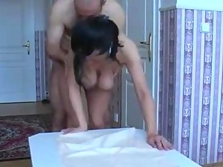older milf with saggy tits engulfing and fucking