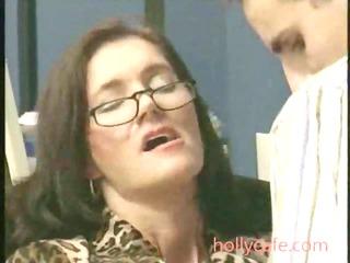 older drilled in office brunette aged