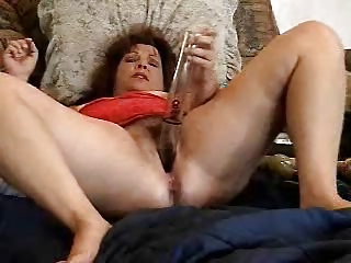 pervert aged doxy has enjoyment with her toys.