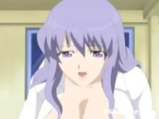 busty hentai woman clothed like nurse seduces