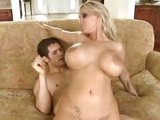 blond milf with giant knockers rides on excited