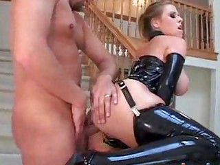 large boob milf does anal in latex