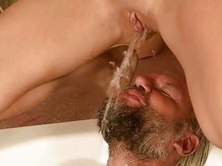 grand-dad and angel pissing and fucking