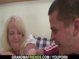 partying boyz lure granny into threesome