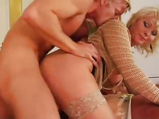 blond mamma and young lad