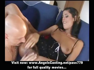 sexy brunette non-professional mommy getting