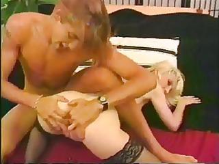 diminutive youthful blonde sucks on a large jock